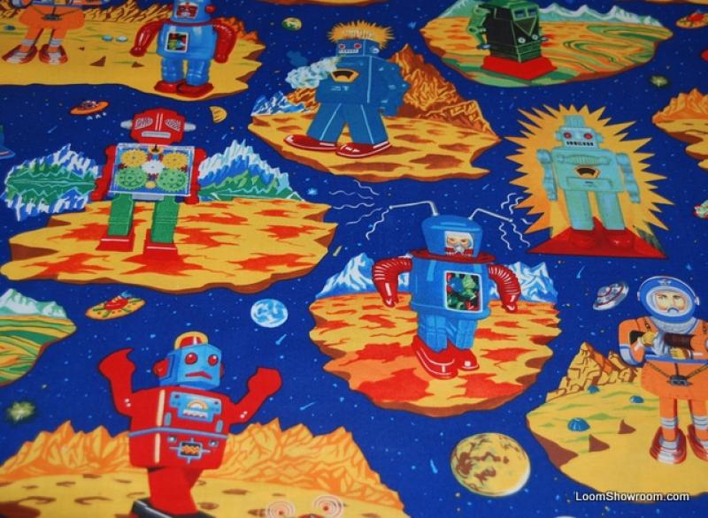P116 space robots japan japanese tin robot style retro for Space themed fleece fabric