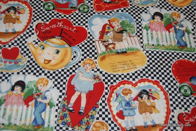 P126 antique valentine card valentines day sweetheart for Childrens cotton fabric