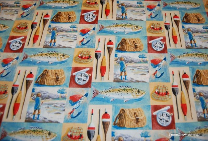 Fishing vintage sports gone fishing lures tackle fishing for Fishing themed fabric
