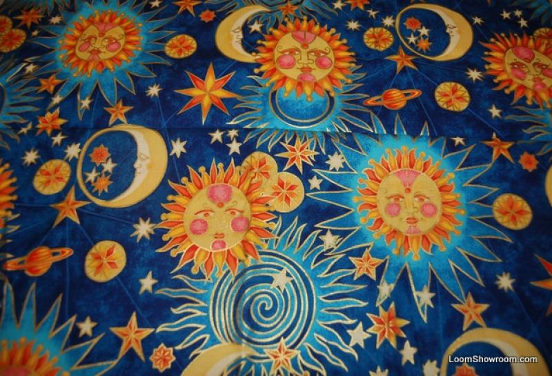 Q100 golden luna alexander henry astrology retro faces sun for Sun moon fabric