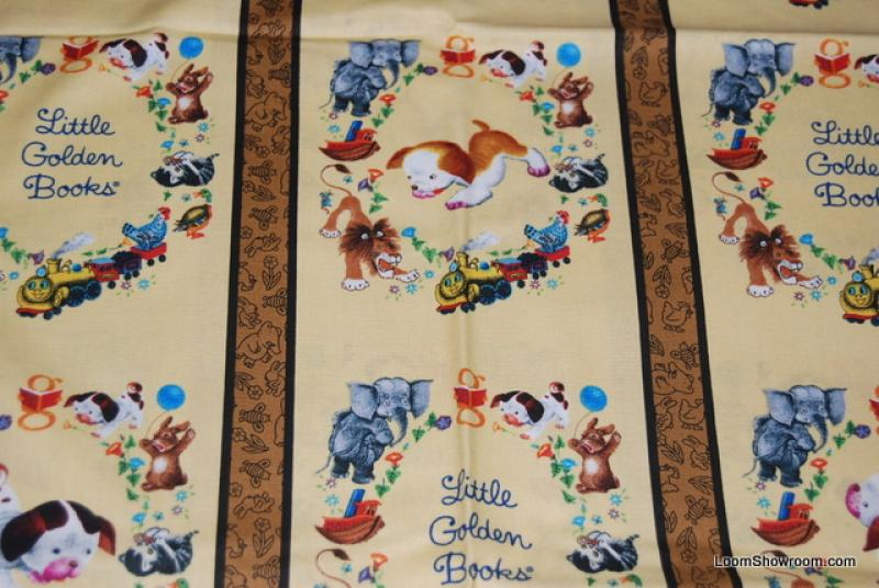 Little golden books lion scuffy pokey little puppy little for Childrens quilt fabric