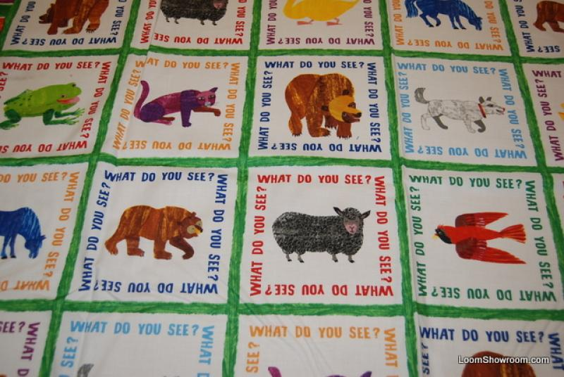 Eric carle brown bear children 39 s book retro quilt fabric for Childrens quilt fabric
