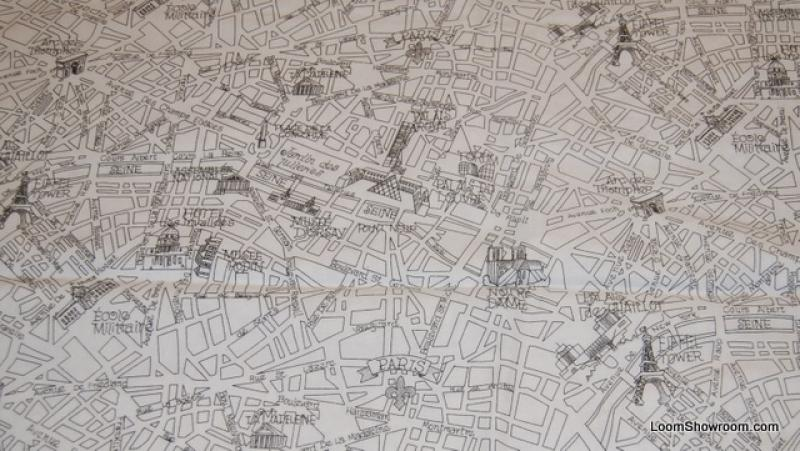 France Travel Retro Paris Map Streets Quilt Fabric Cotton Fabric R - Paris map fabric
