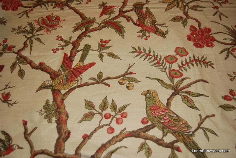 Rem308 7 Yard Bolt Thibaut Dark Cream Birds On Tree Limbs Classic