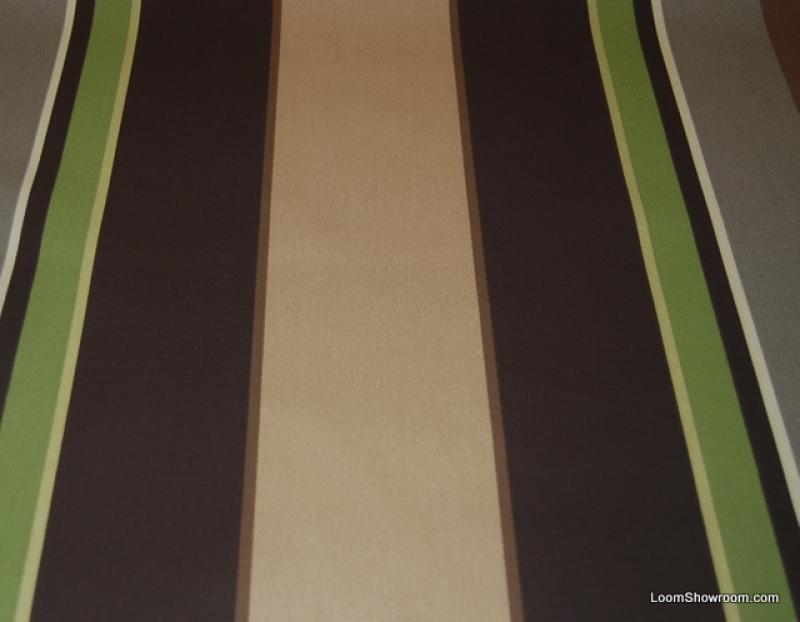 Classic Awning Stripe Brown Grey Green Vertical Stripe