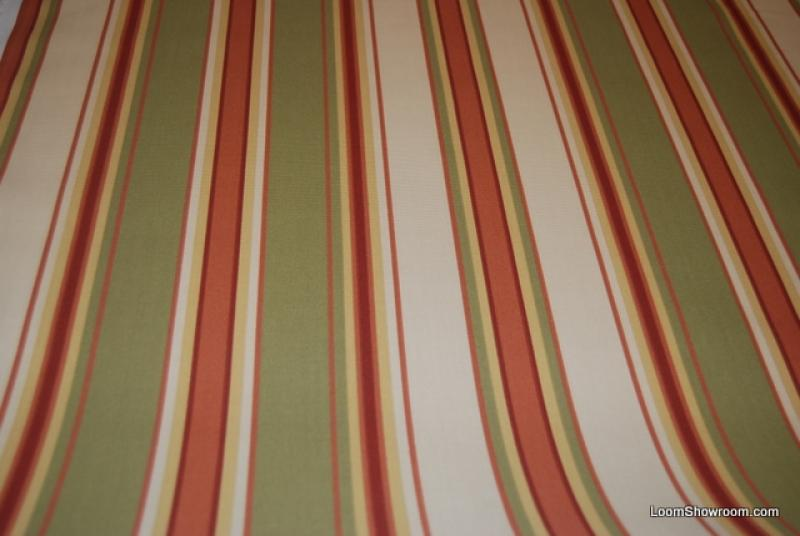 Classic Awning Stripe Famous Maker Print White Green Orange Stripe Soft  Indoor Outdoor Fabric S333