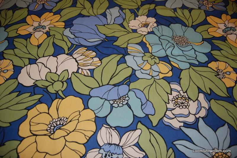 Bold Floral Lime Turquoise Sky Blue Graphic Large Scale Modern ...