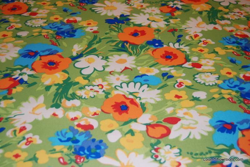 Floral Ralph Lauren Sunbrella Acrylic RETRO Groovy Flowers Daisy Blue Orange  White Yellow Soft Indoor Outdoor Fabric S99