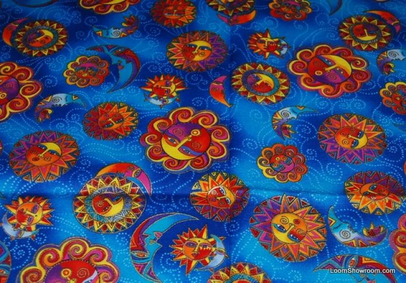 Laurel burch celestial dreams sun and moon opposite for Celestial pattern fabric
