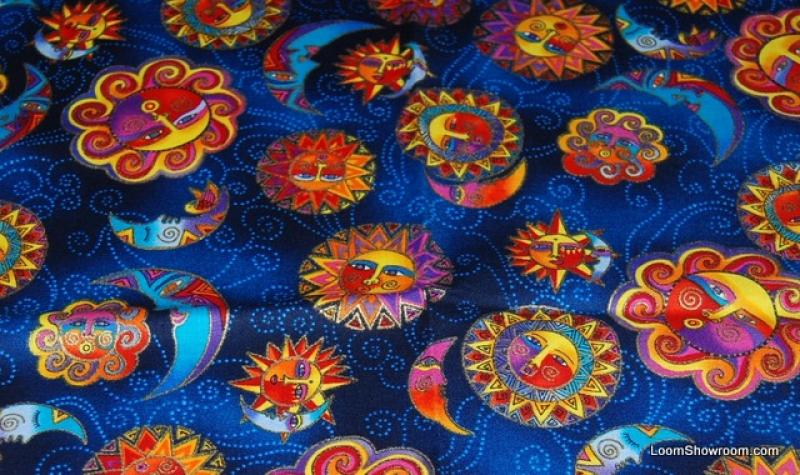 T127 laurel burch celestial dreams sun and moon opposite for Celestial pattern fabric