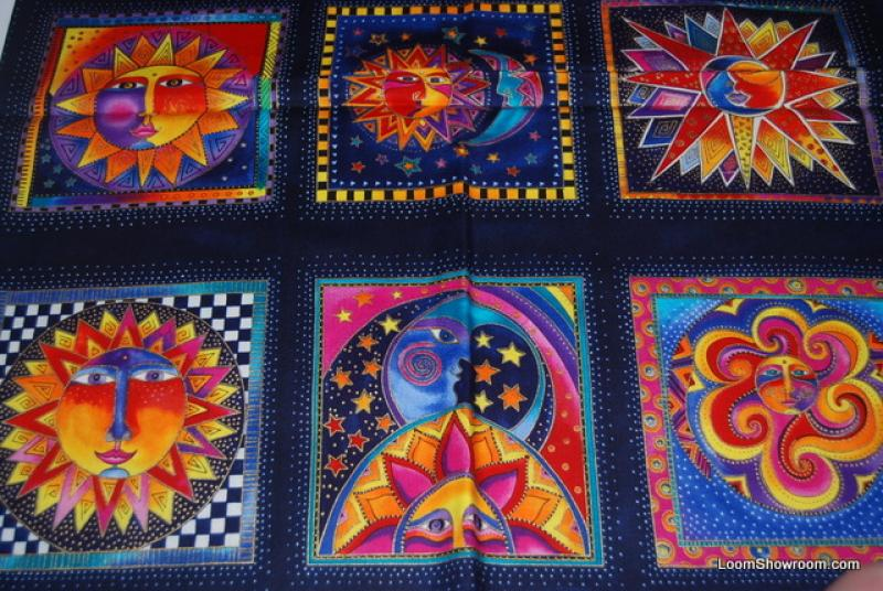 T128 laurel burch celestial dreams sun and moon square for Celestial pattern fabric