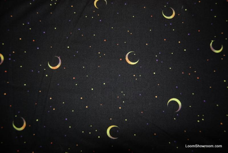 T19 moon stars night sky cotton fabric quilt fabric for Night sky print fabric