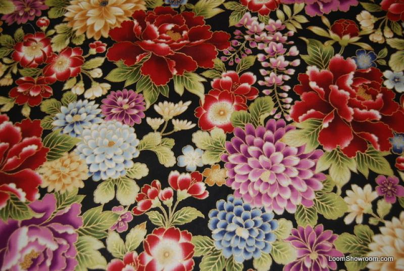 T326 Asian Japan Oriental Metallic Floral Quilt Fabric
