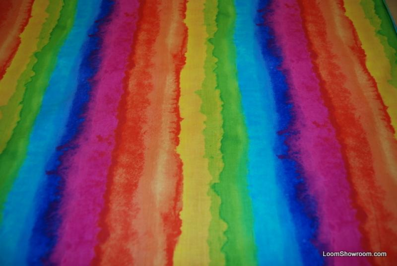 T369 Water Color Rainbow Cotton Fabric Bright Fantasy