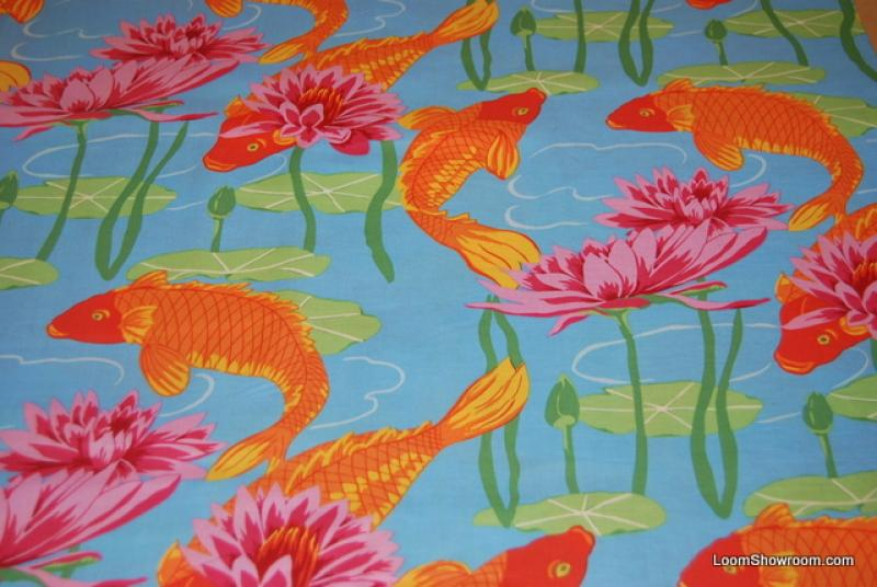 T372 great asian koi fish water lily japan china asia for Fishing themed fabric