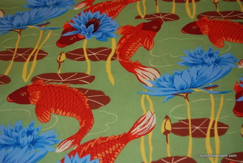 T373 bright asian koi fish water lily japan china asia for Koi fish print fabric