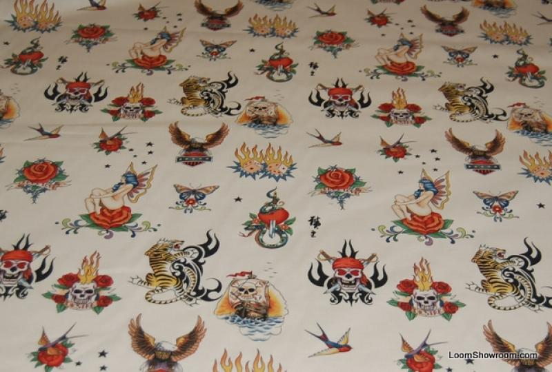 Tattoo Skin by Alexander Henry Biker Ink Skull Tiger Ivory ... : tattoo quilt fabric - Adamdwight.com