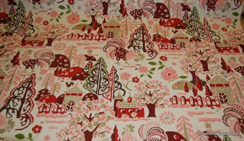 W Granville Rooster Country French Folk Art Trees And Flowers - Country french fabric