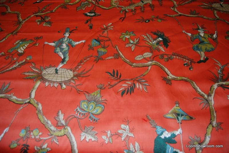 Wb153 Vintage Glazed Chintz Asia Toile Chinamen In Swing