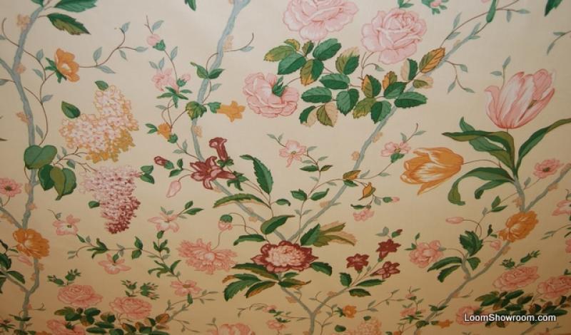 z105 vintage english chintz garden tulip lilly rose flower