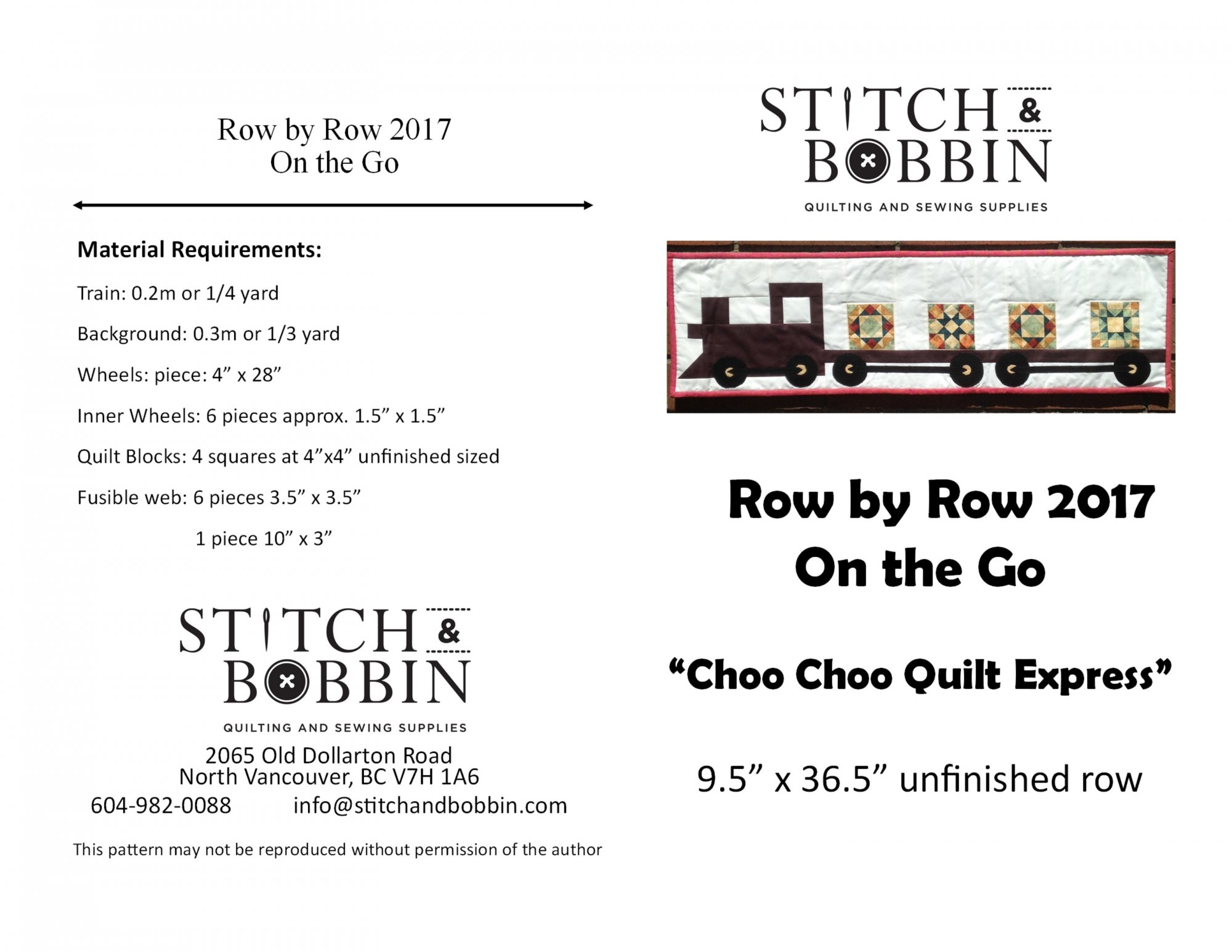 Row by Row 2017 Pattern- DIGITAL COPY