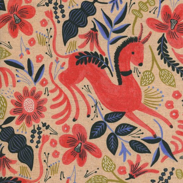 Folk Horse in Coral (Cotton Linen Canvas Fabric) by Rifle Paper Co. from the Les Fleurs collection for Cotton and Steel #8011-12