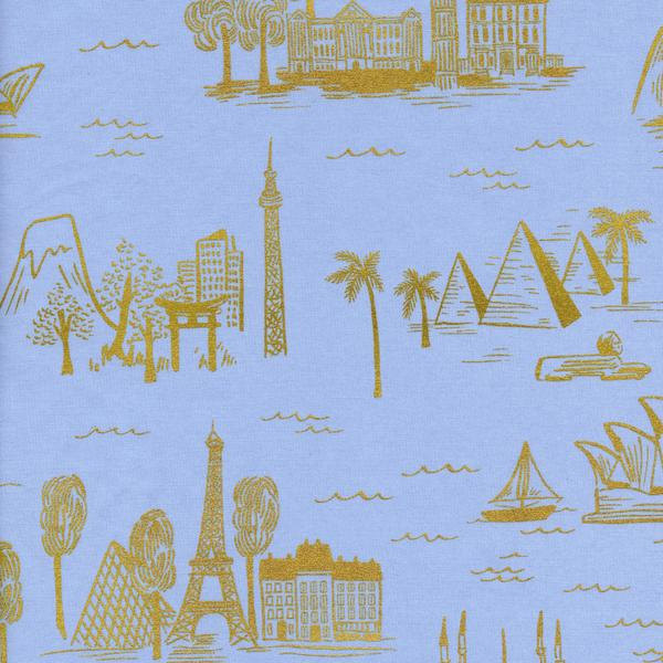 City Toile in Pale Blue (Metallic Gold) (Cotton Lawn Fabric) by Rifle Paper Co. from the Les Fleurs collection for Cotton and Steel #8006-21