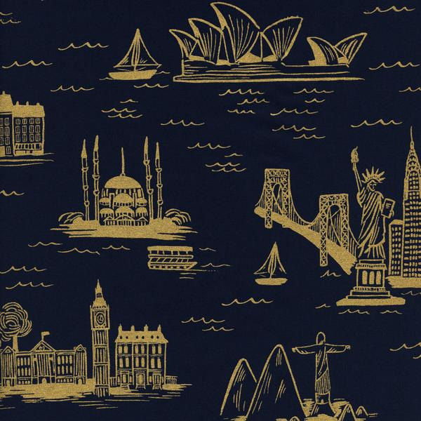 City Toile in Navy (Metallic Gold) (Cotton Lawn Fabric) by Rifle Paper Co. from the Les Fleurs collection for Cotton and Steel #8006-11