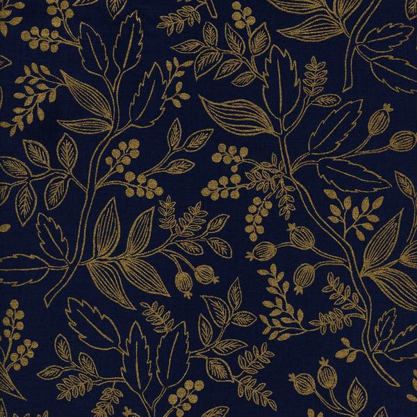 Queen Anne in Navy (Metallic Gold) by Rifle Paper Co. from the Les Fleurs collection for Cotton and Steel #8005-03