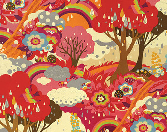 Rainbow Forest in Apple by Momo from the Flying Colors collection for Moda #33060 14