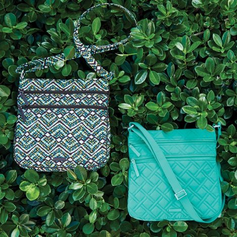 Vera Bradley Triple Zip Hipster in Turquoise Sea and Rain Forest