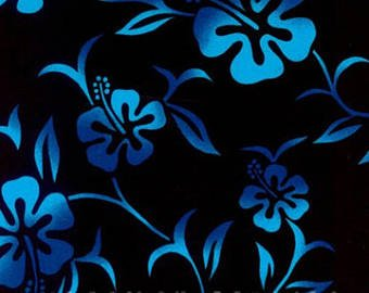 Hawaiian Hibiscus New Pareau Black/Turquoise