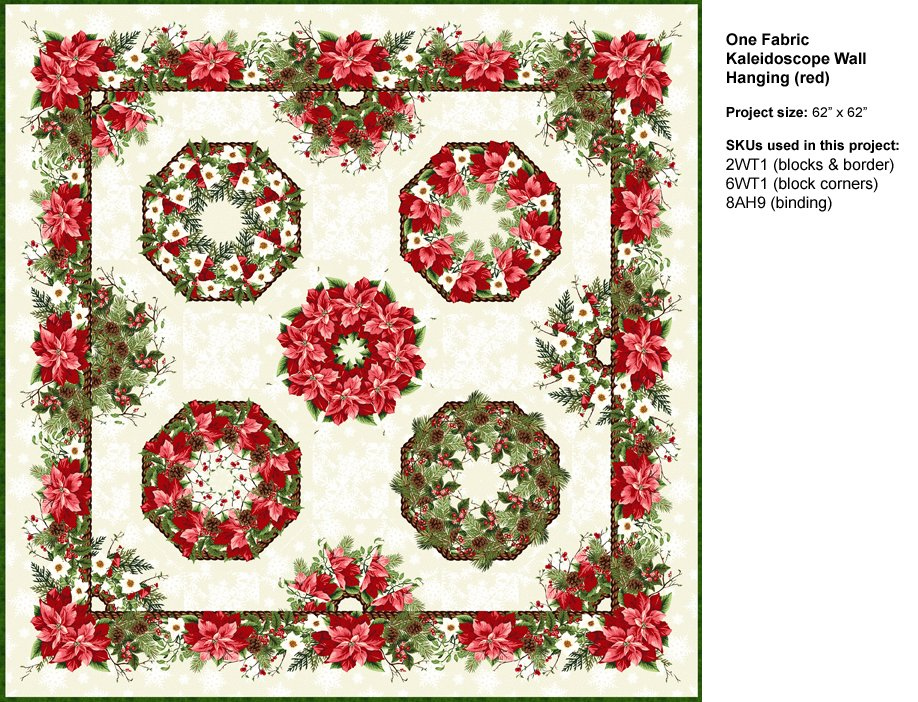 Winter Twist One-Fabric Kaleidoscope Pattern