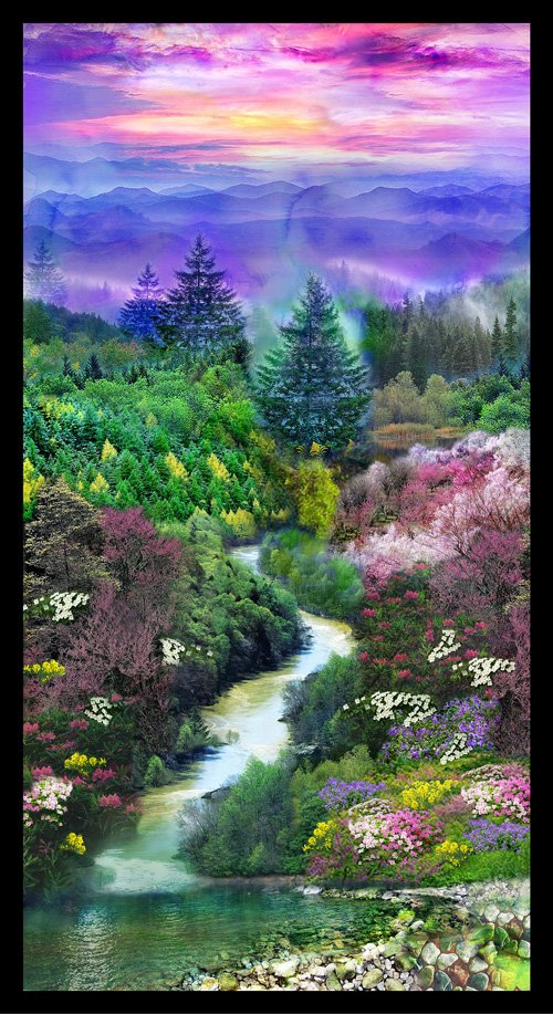Mountain View, Digital Print Panel by Ro Gregg for Paintbrush Studio : 148-14221