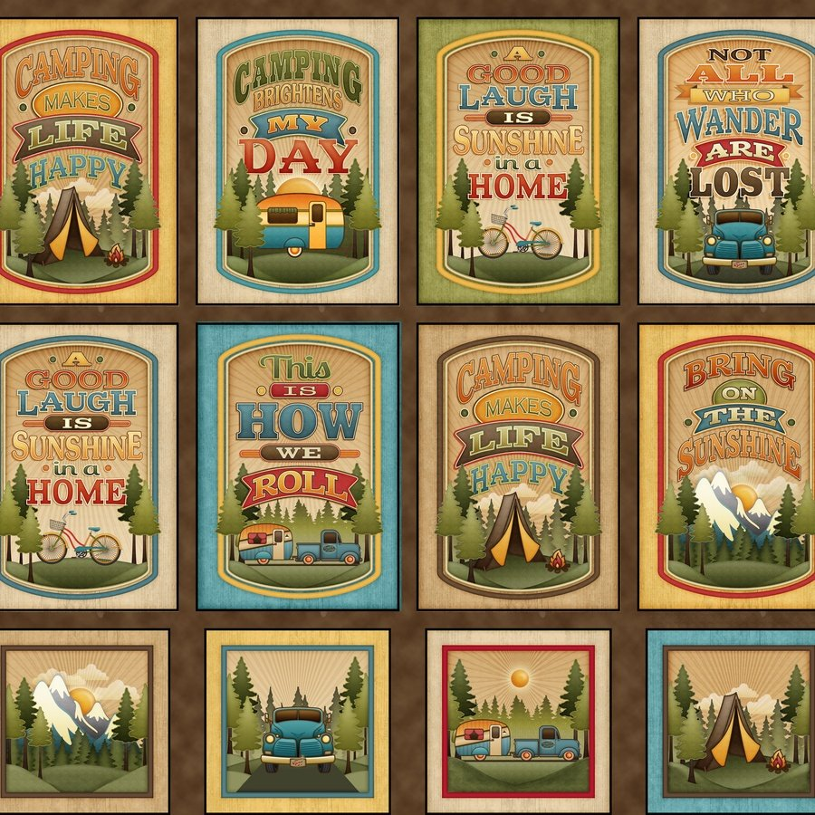 Outdoor Adventure Camping Mottos Fabric Panel By Angela