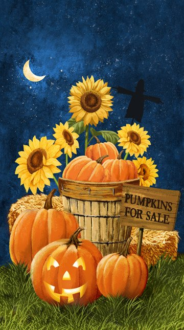 Pumpkins for Sale, Fabic Panel 24in by Tom Wood for Northcott : 21668-49