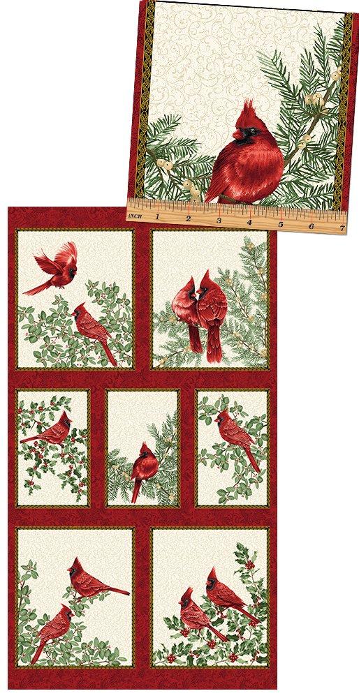 A Festive Season, Backyard Cardinal Stripe Cream, 24 Fabric Panel by Jackie Robinson for Benartex : 2640M-07