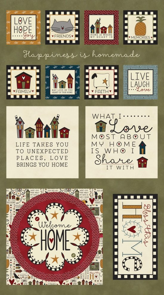 Bless This Home, Fabric Panel by Emily McGlothlen of the Little Red Hen for Henry Glass : 8636P-66
