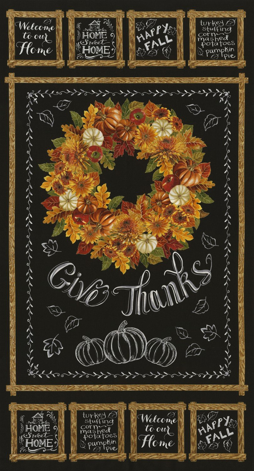 Autumn Bounty, Happy Harvest Black, Fabric Panel 24in by Timeless Treasures : CM5204-BLK