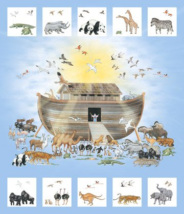 Noah's Ark, Single Colorway, 36 Fabric Panel by Jay Zinn for Northcott : DP21499-42