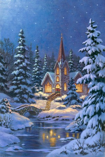 Silent Night, Fabric Panel 28in Digital Print by Corbert Gauthier for Northcott : DP21658-44