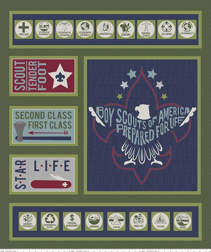 Modern Scouting, 36 Fabric Panel by Riley Blake Designs : P6205-green