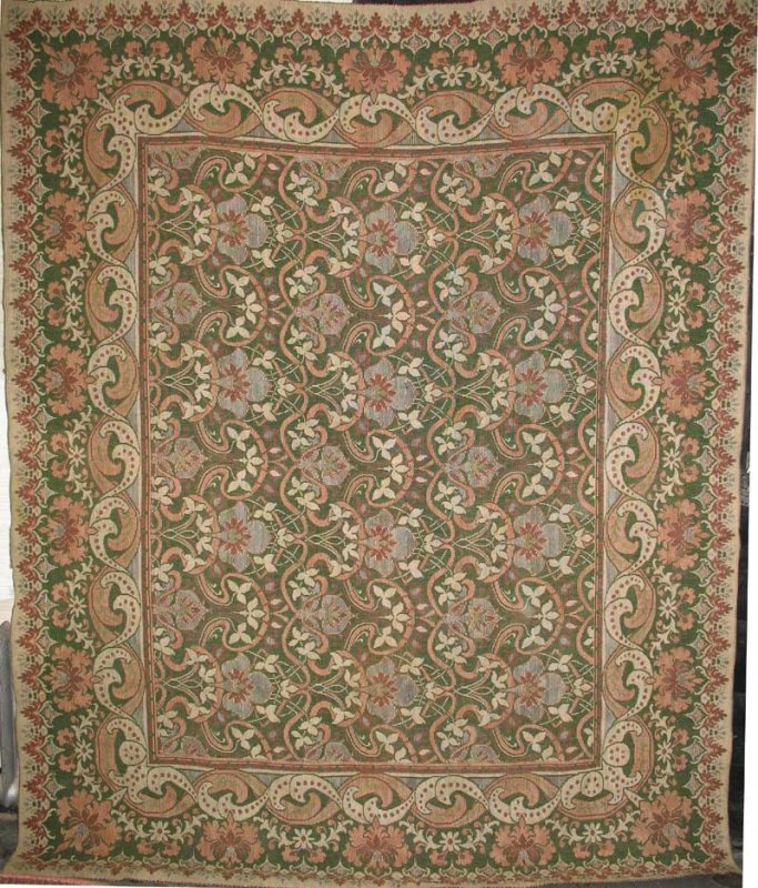 View Large Image · IN GRAIN ROOM SIZE WILLIAM MORRIS TYPE ANTIQUE INGRAIN  CARPET