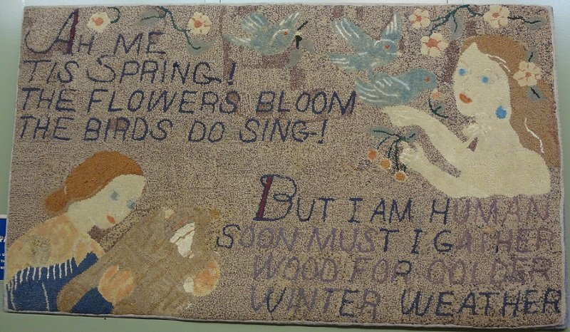 HUTCHINSON AH ME TIS SPRING THE FLOWERS BLOOM ANTIQUE HOOKED RUG