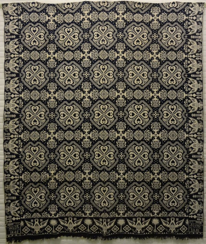JAMES ALEXANDER, NEW YORK 1842 ANTIQUE JACQUARD COVERLET