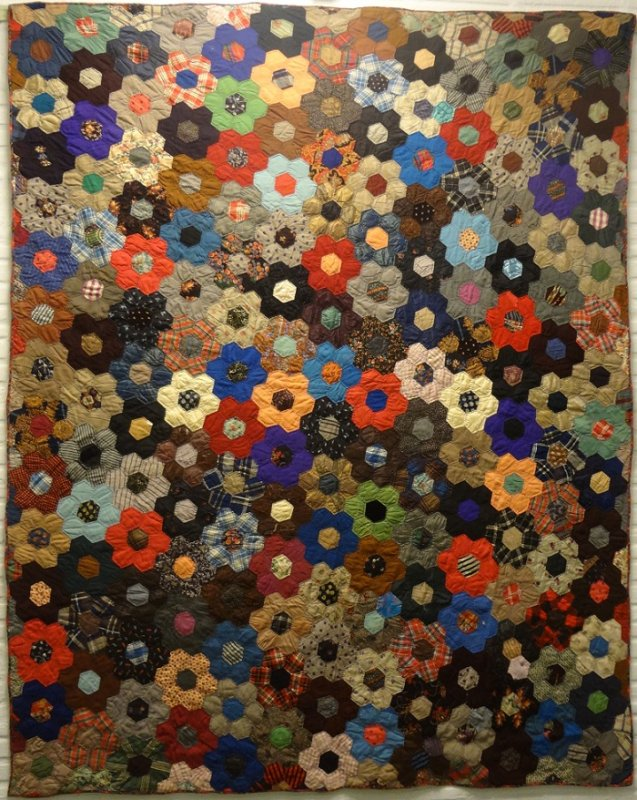 HONEYCOMB COLORFUL WOOL CHALLIS ANTIQUE QUILT