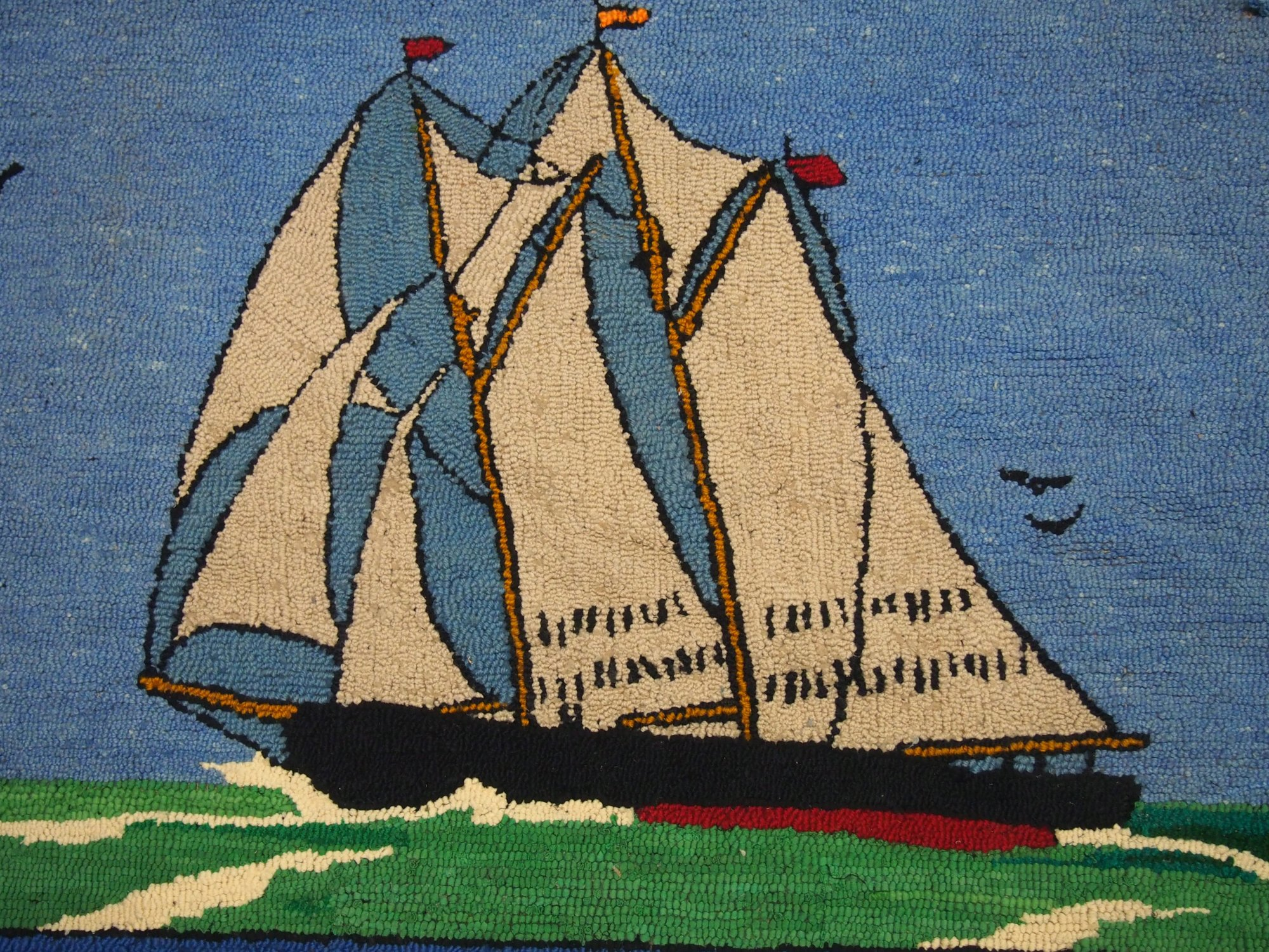 SHIP BLUENOSE ANTIQUE HOOKED RUG