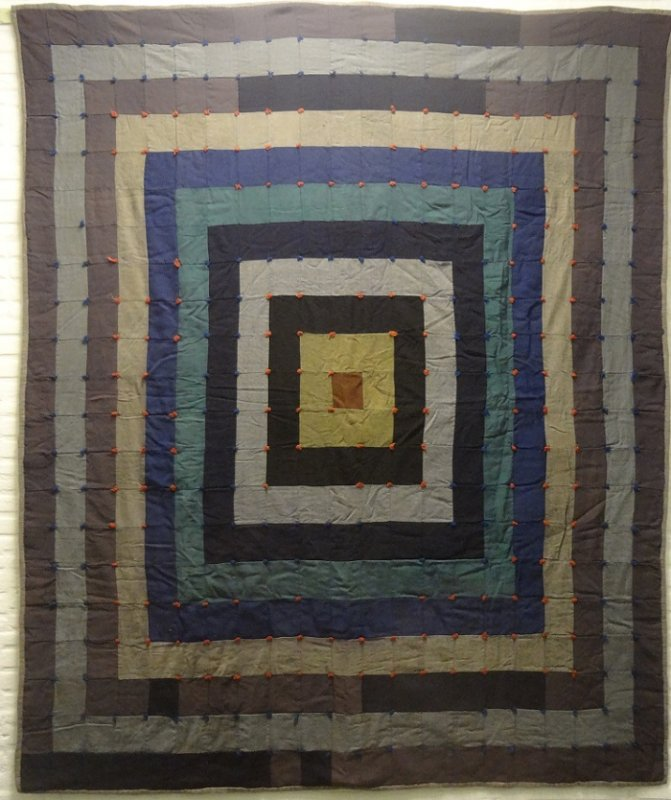 CONCENTRIC RECTANGLES 'POSTAGE STAMP ANTIQUE WOOL PIECED QUILT