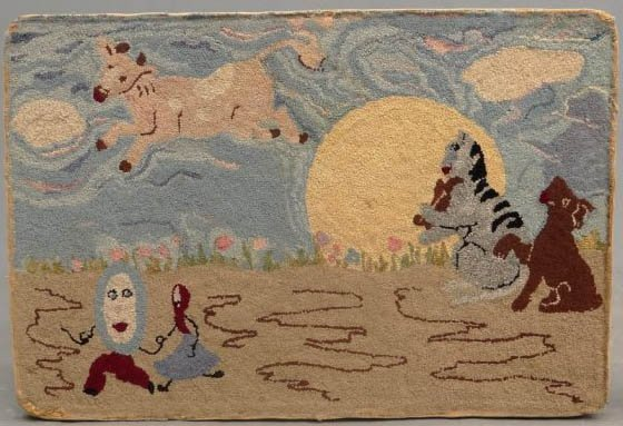 COW JUMPED OVER THE MOON ANTIQUE HOOKED RUG  mounted