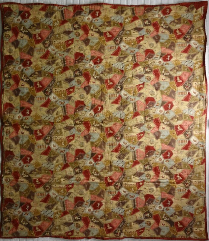 'PRINTED PATCHWORK'  A FAUX ANTIQUE CRAZY QUILT